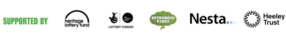 Supported by Heritage Lottery Fund, Lottery Funded, Rethinking Park, Nesta...